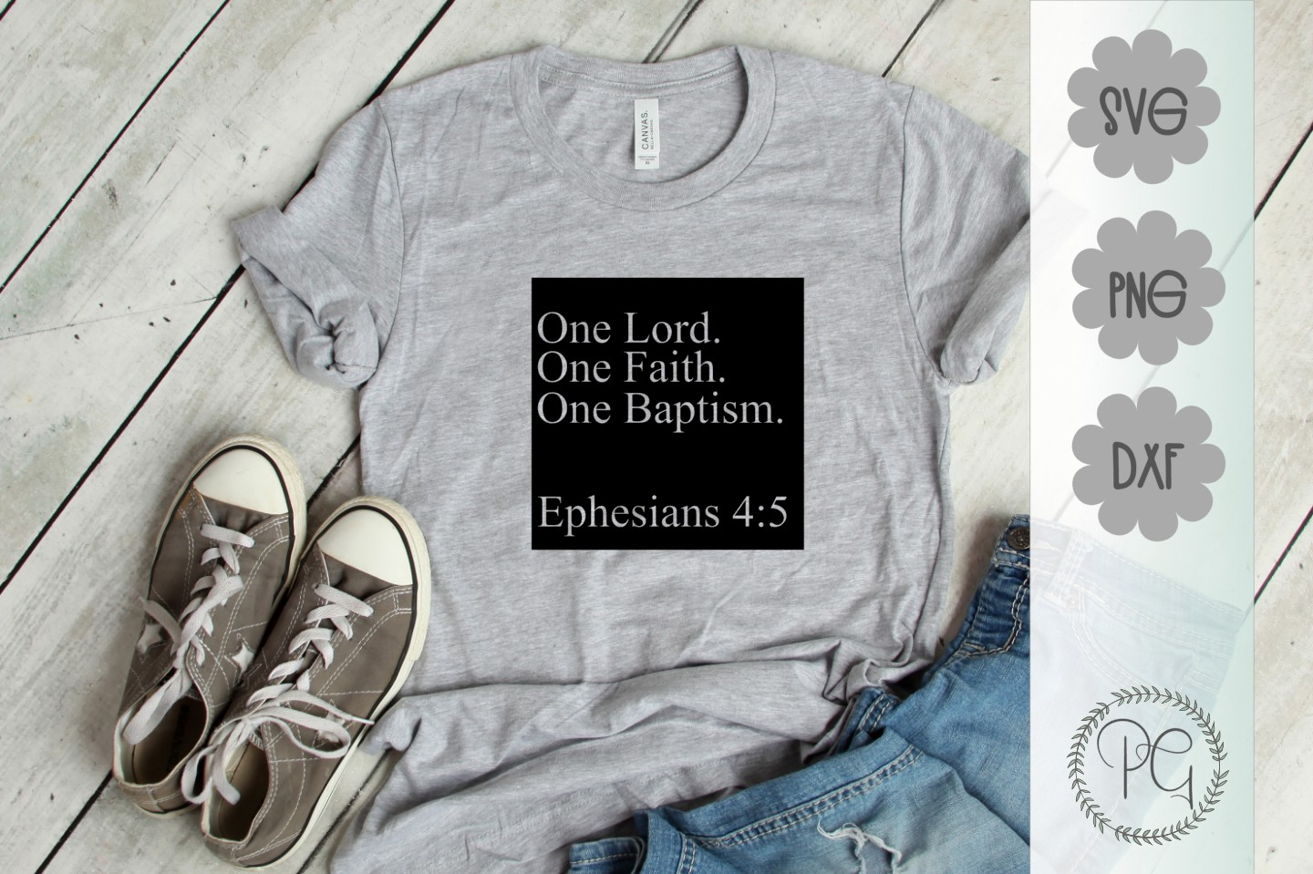 One Lord One Faith One Baptism SVG DXF PNG example image 1