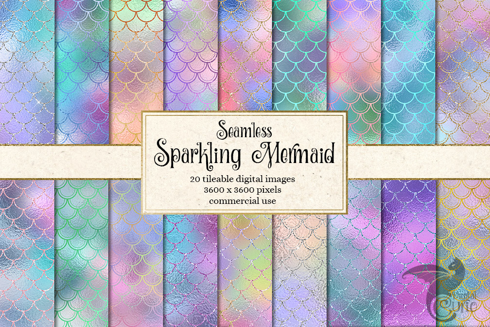 Sparkling Mermaid Digital Paper example image 1