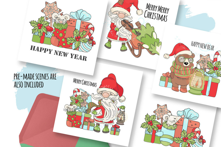 CHRISTMAS SONG New Year Santa Music Clip Art Pattern Vector example image 7