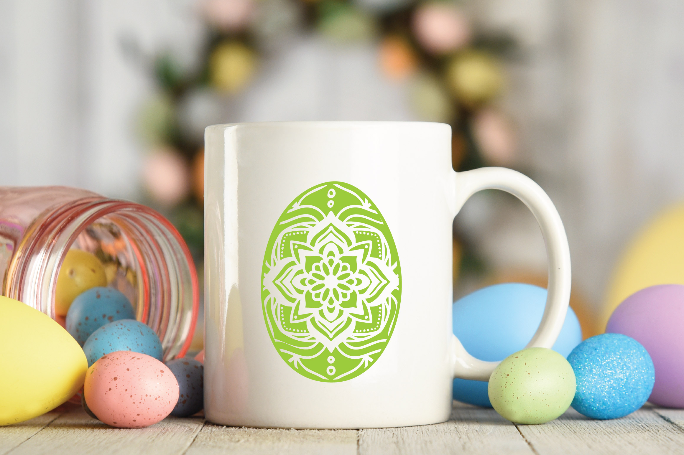 Easter SVG Cut File - Mandala Easter Eggs SVG DXF EPS PNG AI example image 4