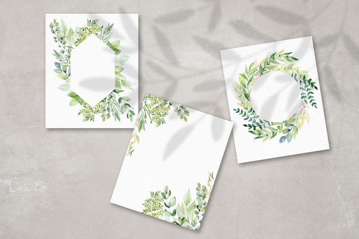 Watercolor leaves clipart. example image 8