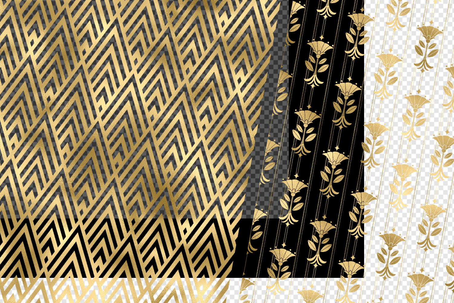 Gold Art Deco Pattern Overlays example image 2