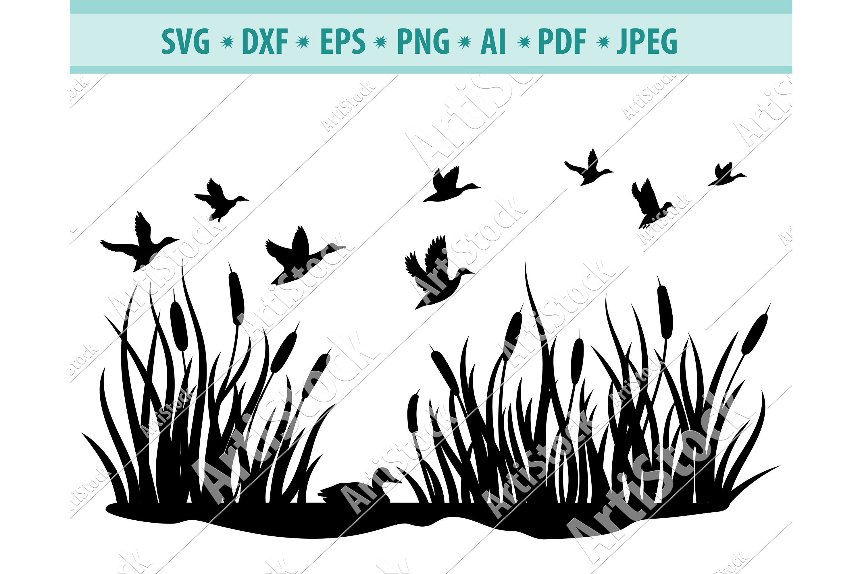 Flock of Birds SVG, Flying birds Svg, Animal Dxf, Png, Eps example image 1