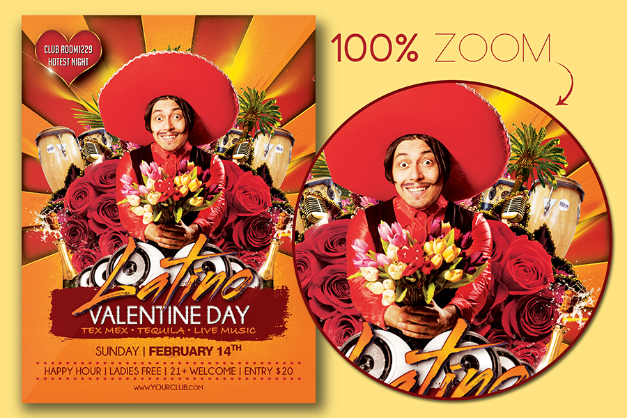 Valentine Day Latino Party Flyer Template example image 2