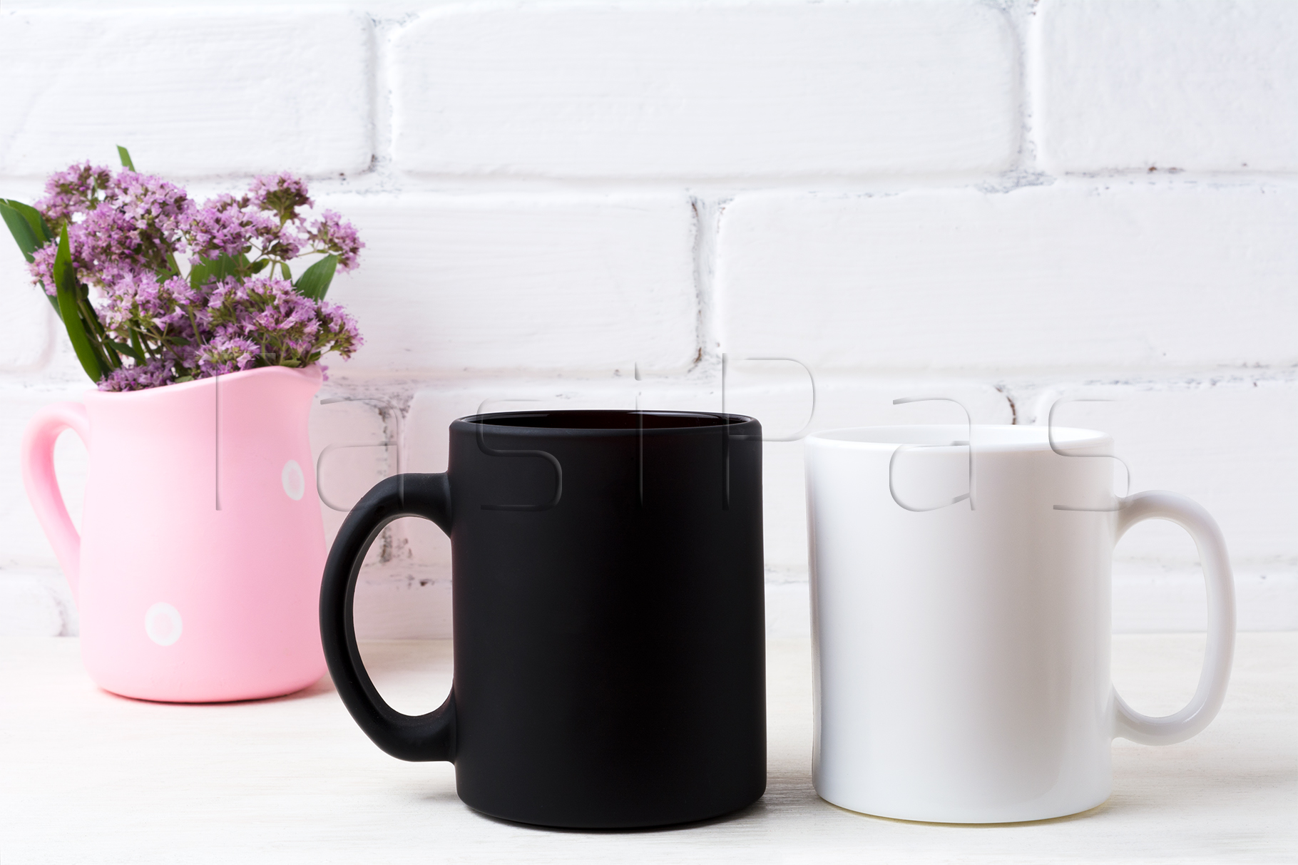White and black coffee mug mockup with purple field flowers in polka dot pink rustic pitcher vase. example image 2