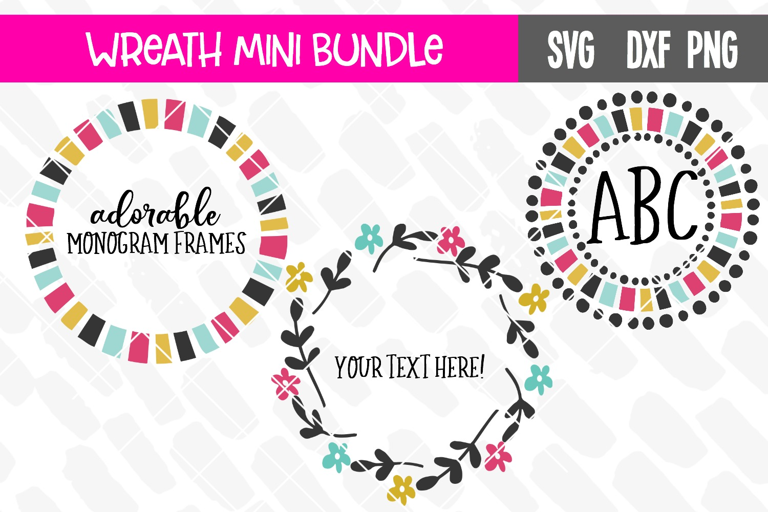 Monogram Frame Wreath Mini Bundle example image 1