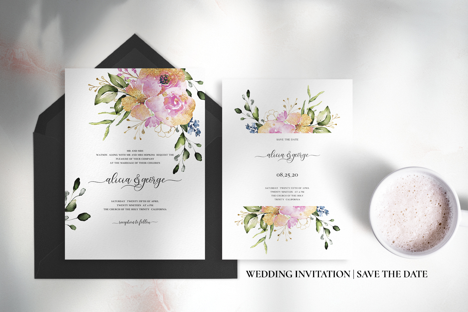 Rose & Gold Floral Wedding Suite example image 4