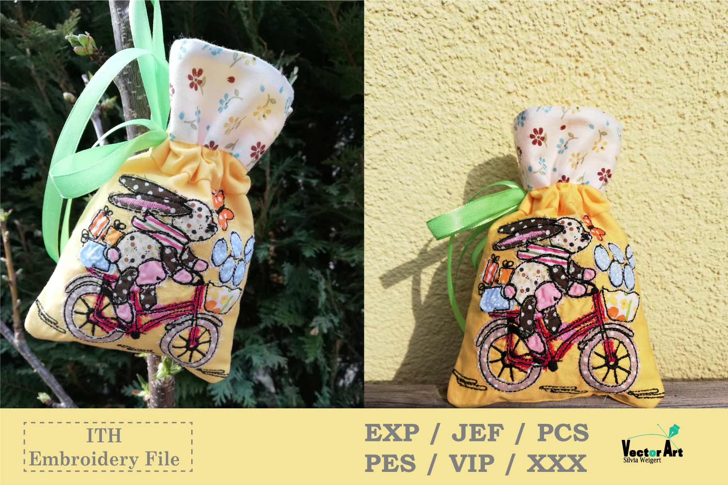 ITH -Drawstring Bag with Easter Motif - Embroidery File example image 4