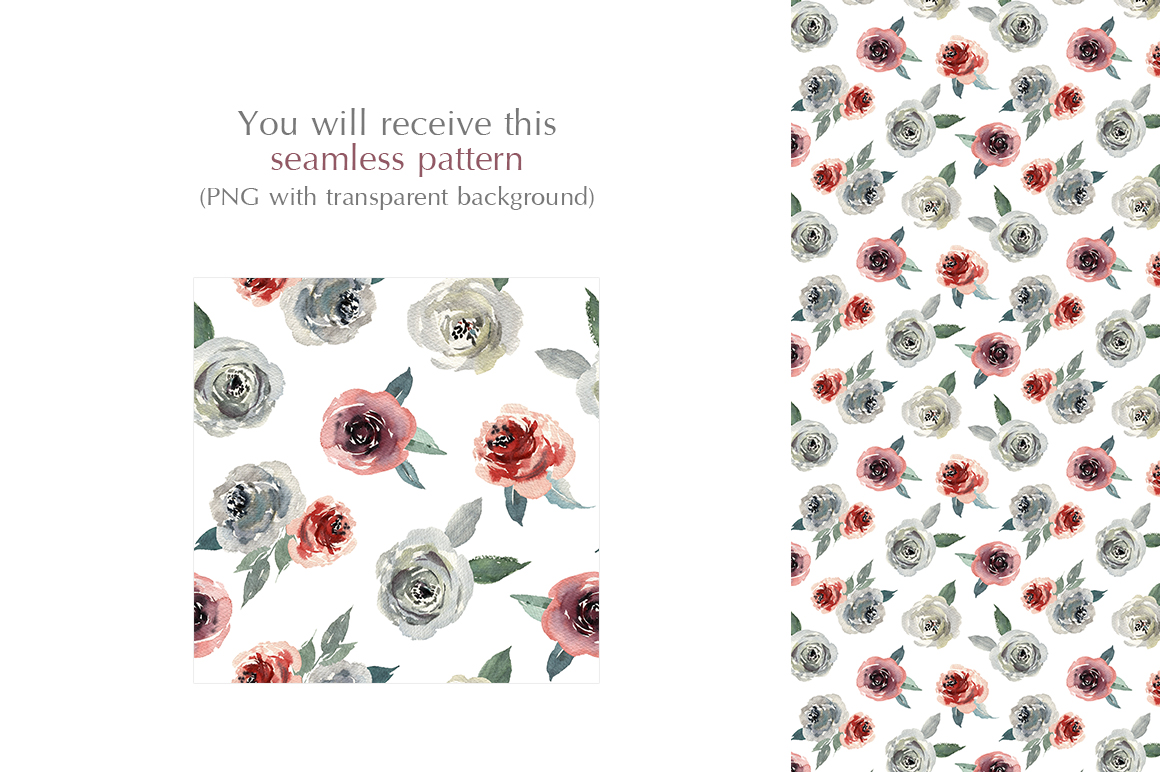 Watercolor Flowers Creamy Roses PNG example image 3