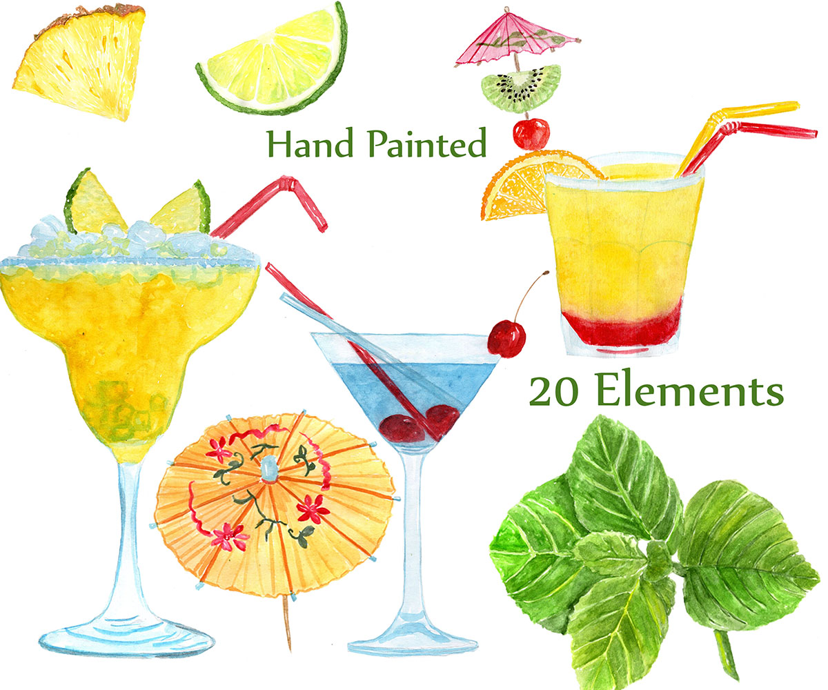 Watercolor Cocktails clipart example image 2