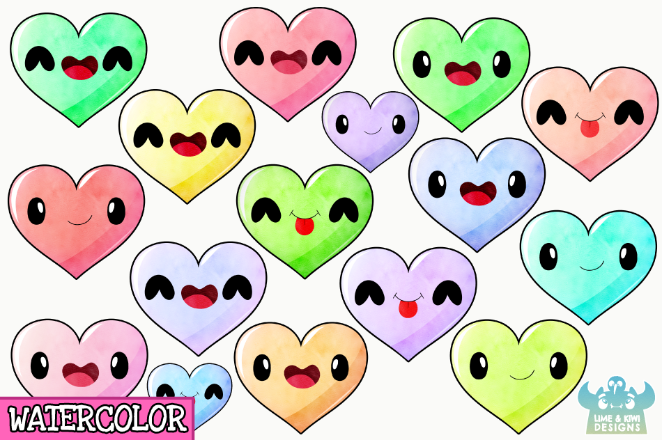 Kawaii Hearts Watercolor Clipart, Instant Download example image 2