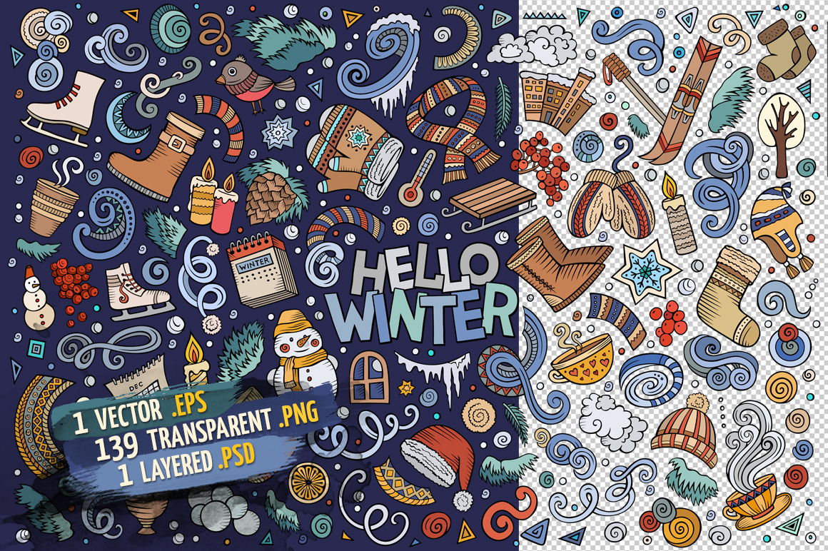 Winter Objects & Elements Set example image 2