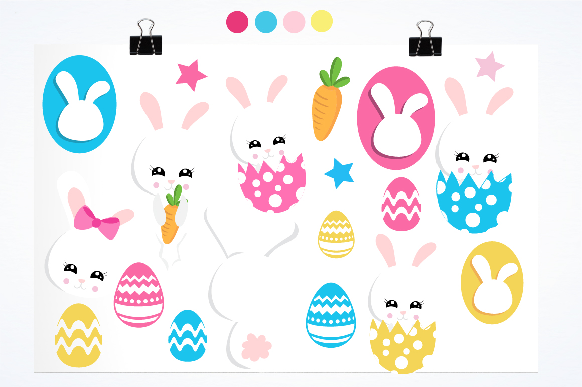 Easter cute bunnies graphics and illustrations example image 2
