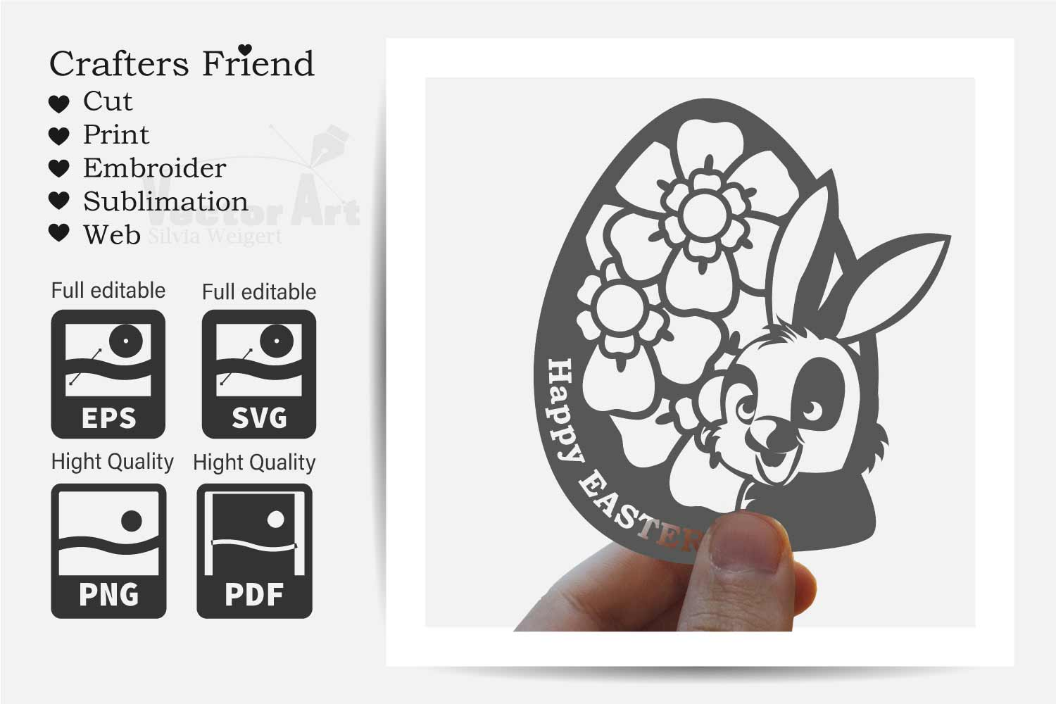Happy Easter - Bunny in Egg with Flower - Print and Cut example image 3