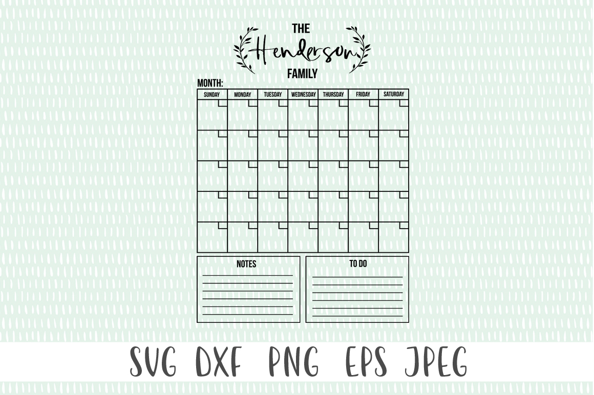 Customizable Family Monthly Calendar SVG example image 2