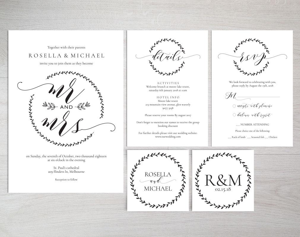 Wedding invitation set potrait, TOS_9 example image 2