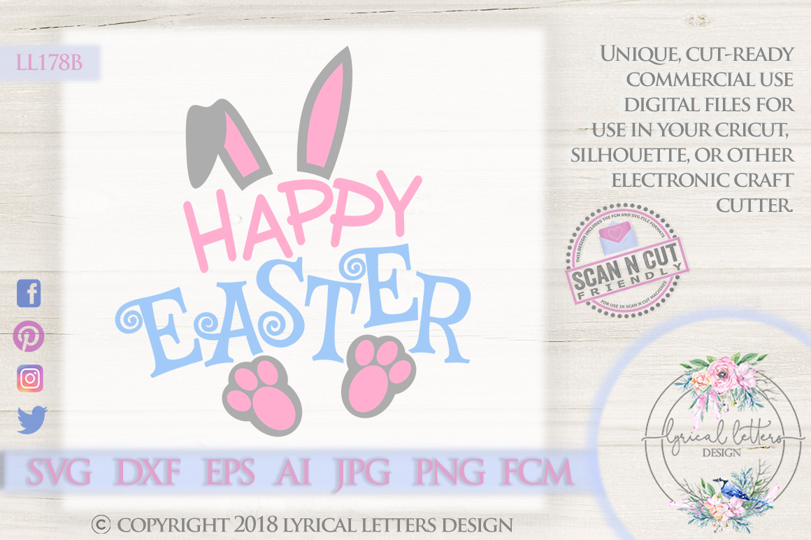 Happy Easter with Bunny Ears and Feet SVG DXF LL178 example image 1