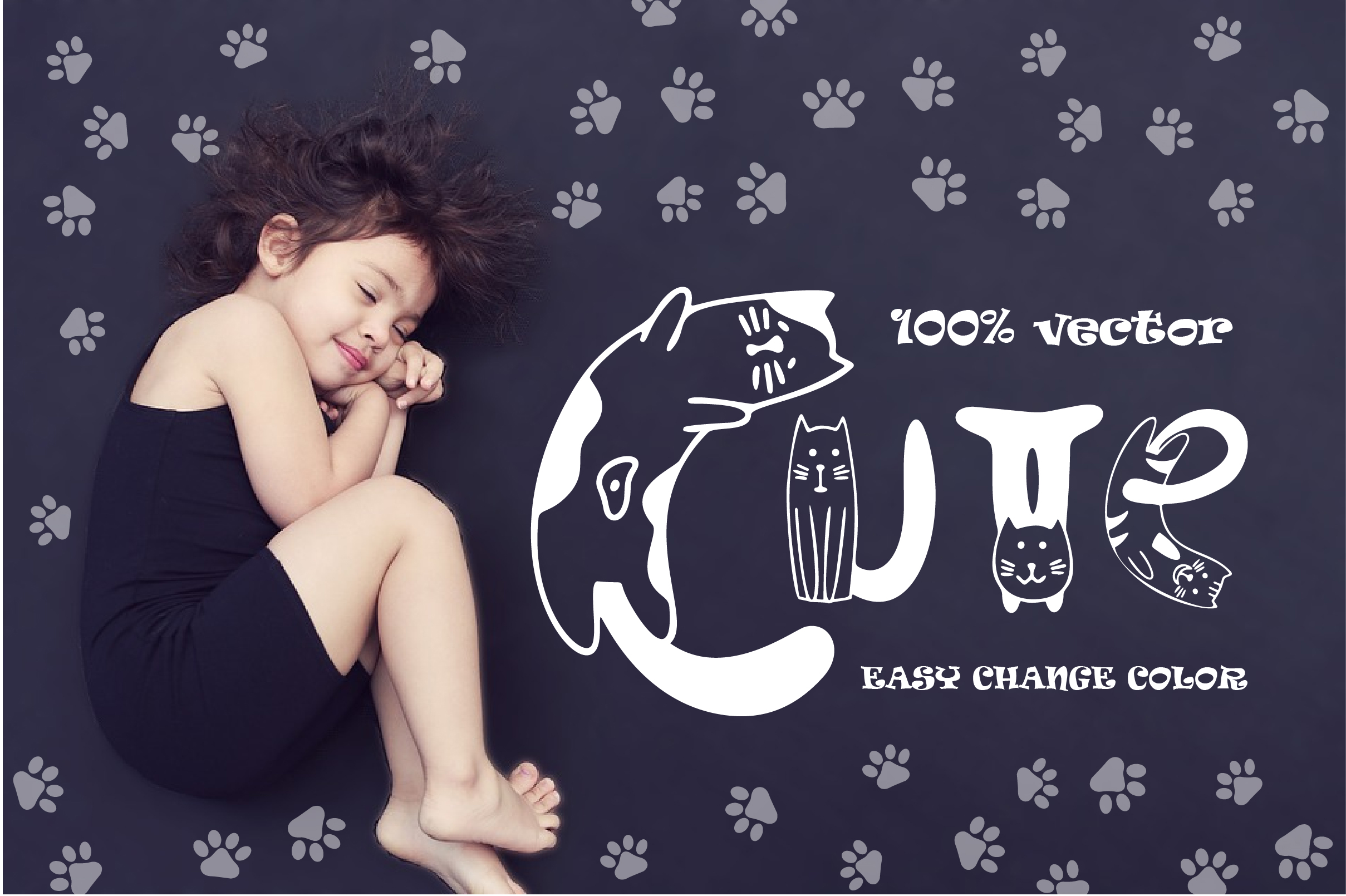 Cats cute OTF color font example image 5