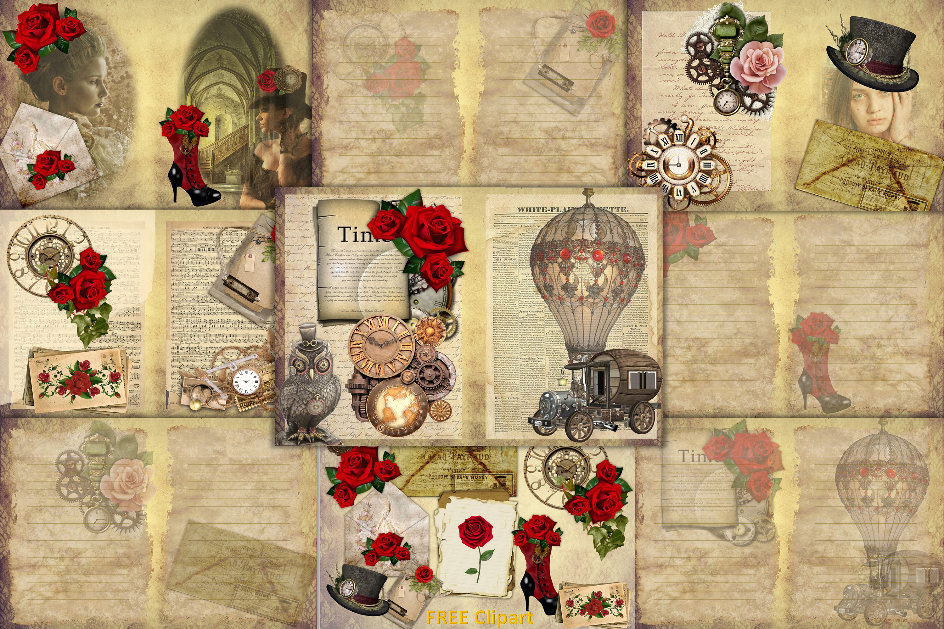 Steampunk Background set with FREE Clipart and Ephemera example image 1