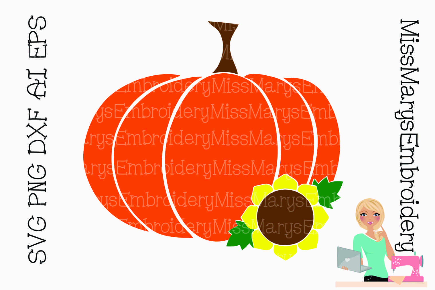 Sunflower Fall Pumpkin SVG Cutting File PNG DXF example image 1