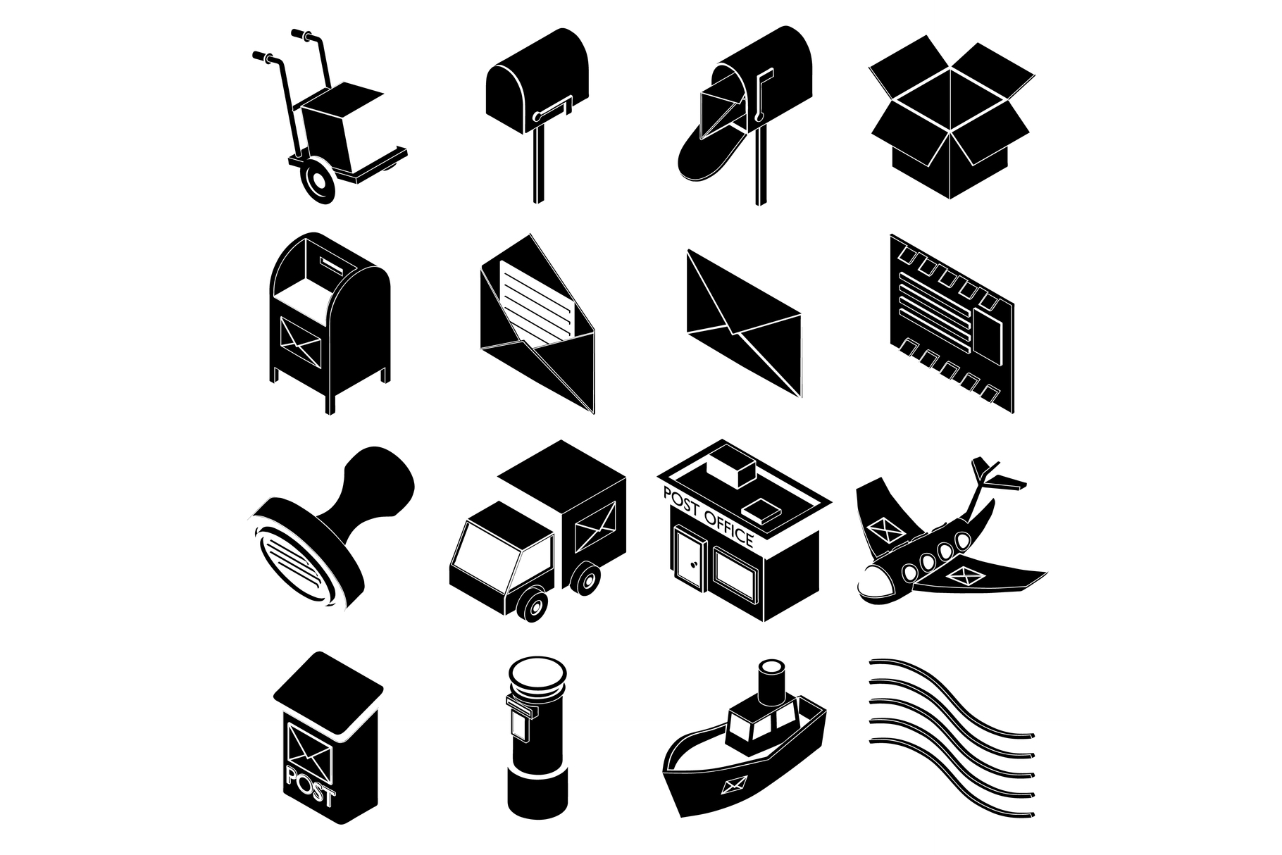 Poste service icons set, simple style example image 1