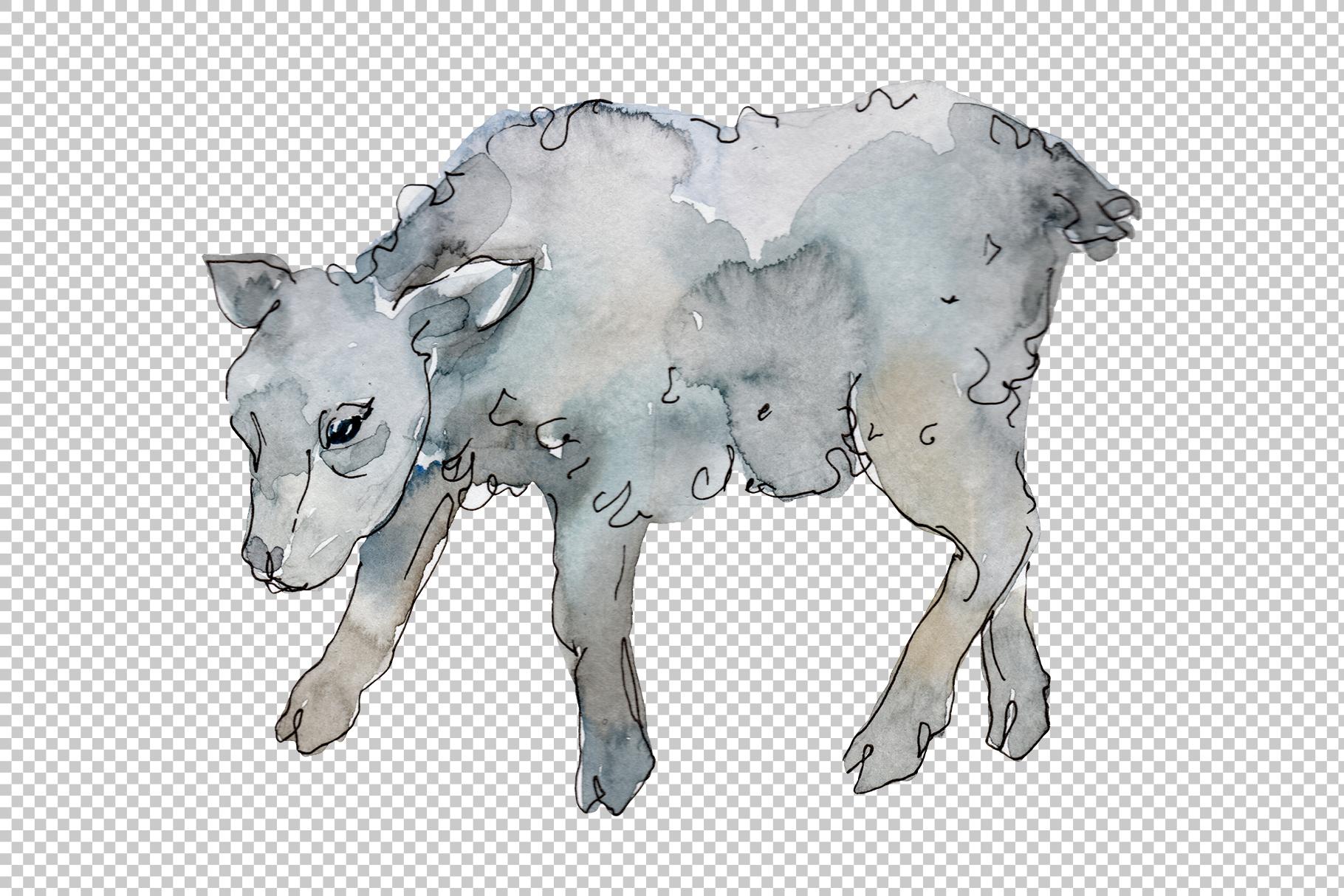 Farm animals lamb Watercolor png example image 5