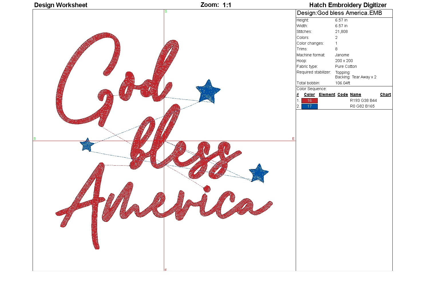God bless America| Independence day | Machine embroidery| example image 5