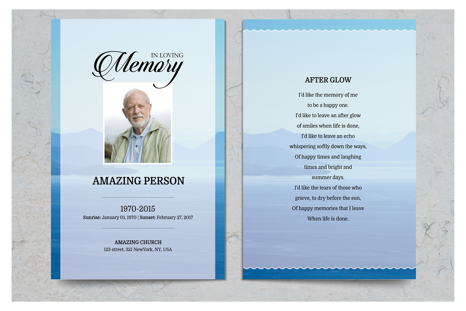 Blue Mauntain Funeral Prayer Card Template example image 2