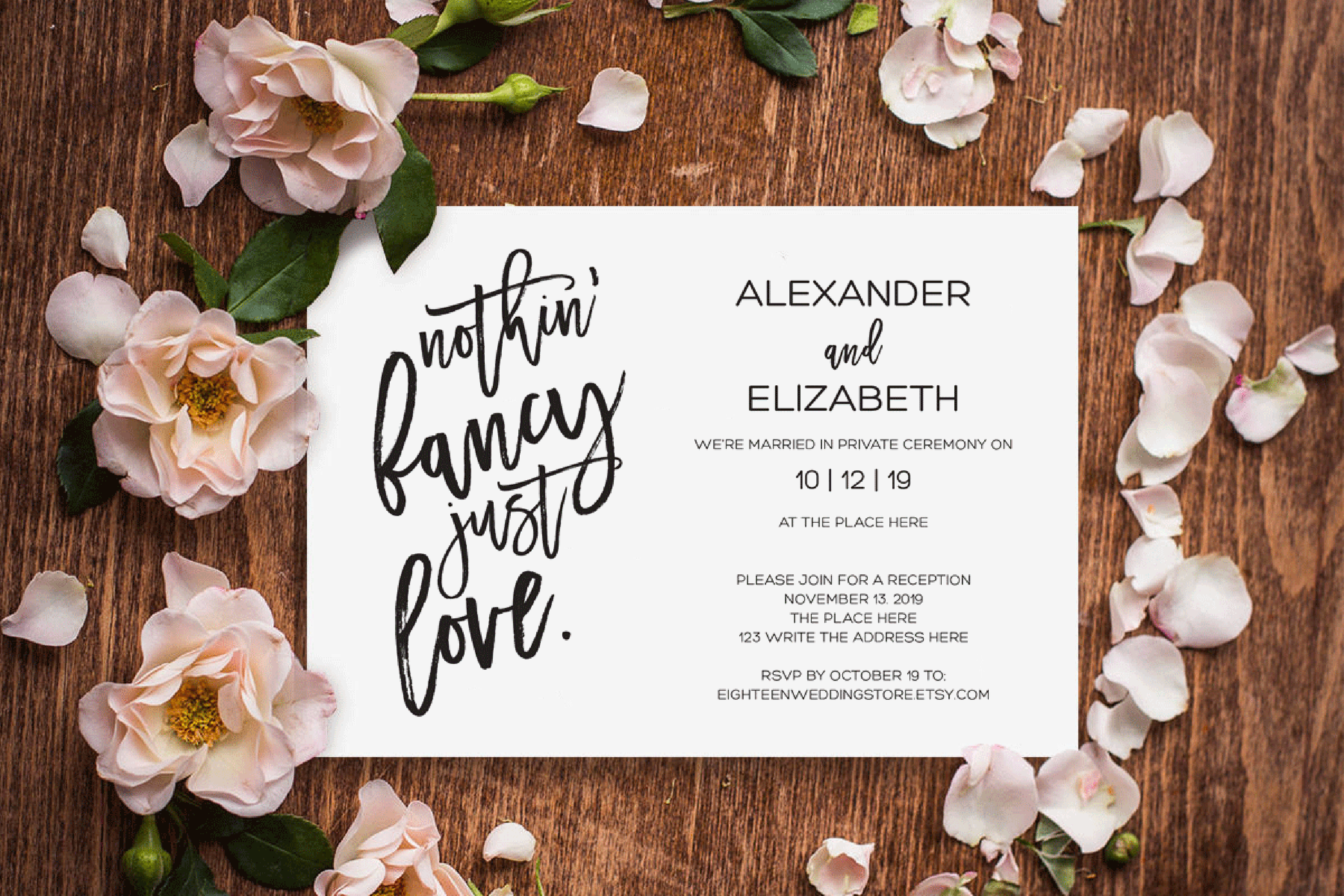 Elopement reception invitation, nothin fancy just love example image 2