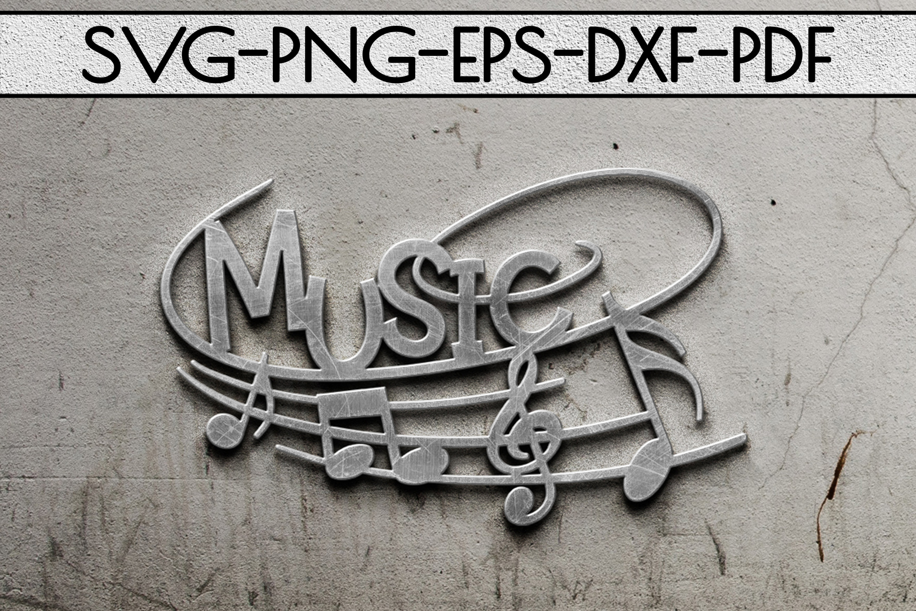 Music Sign Papercut Template, Treble Clef, Musical SVG, DXF example image 2