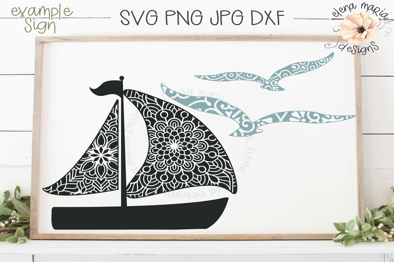 Summer Mini Bundle Mandala Svg | Boat Seagulls Zentangle example image 3