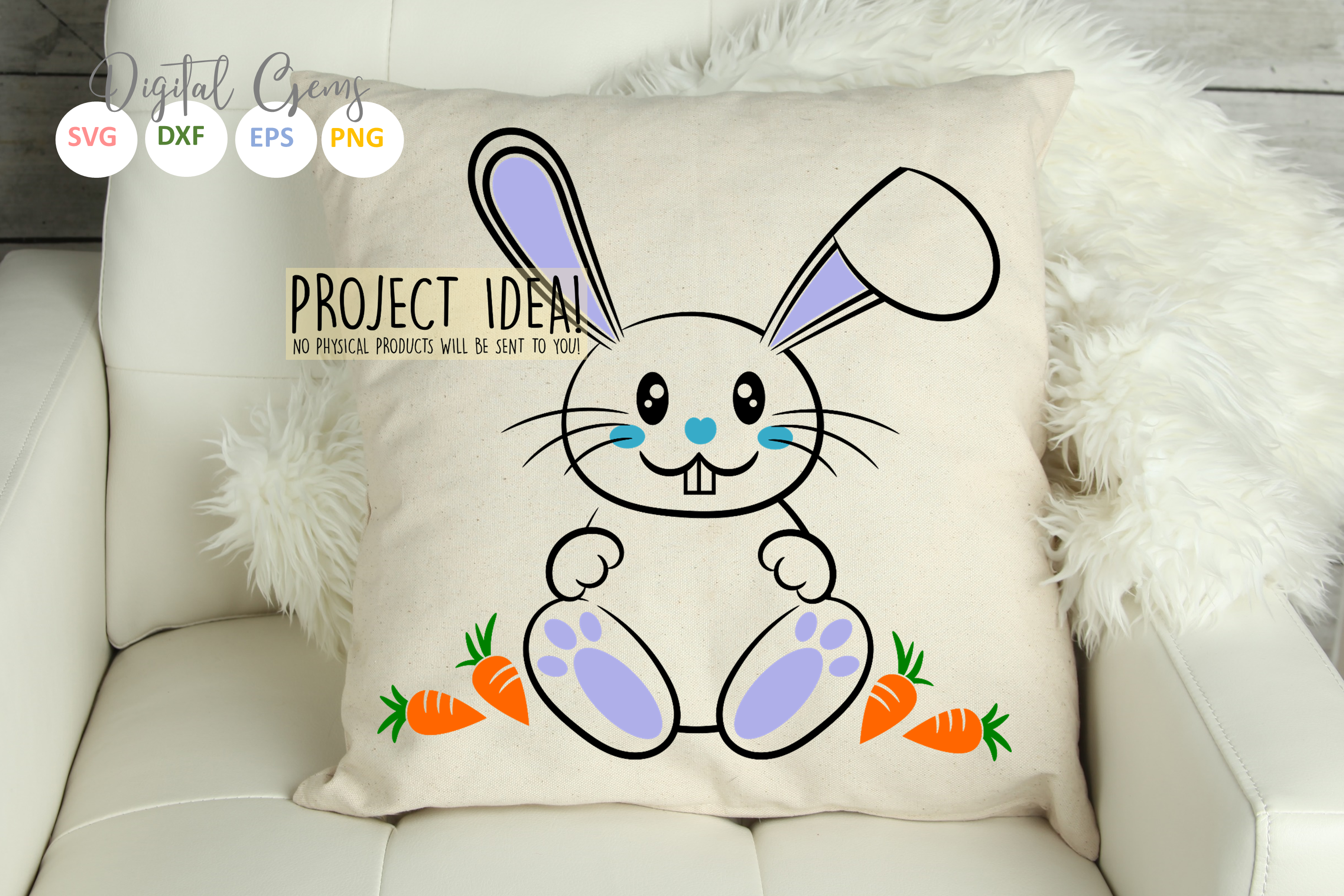 Bunny Rabbits, Easter SVG / DXF / EPS / PNG files example image 6