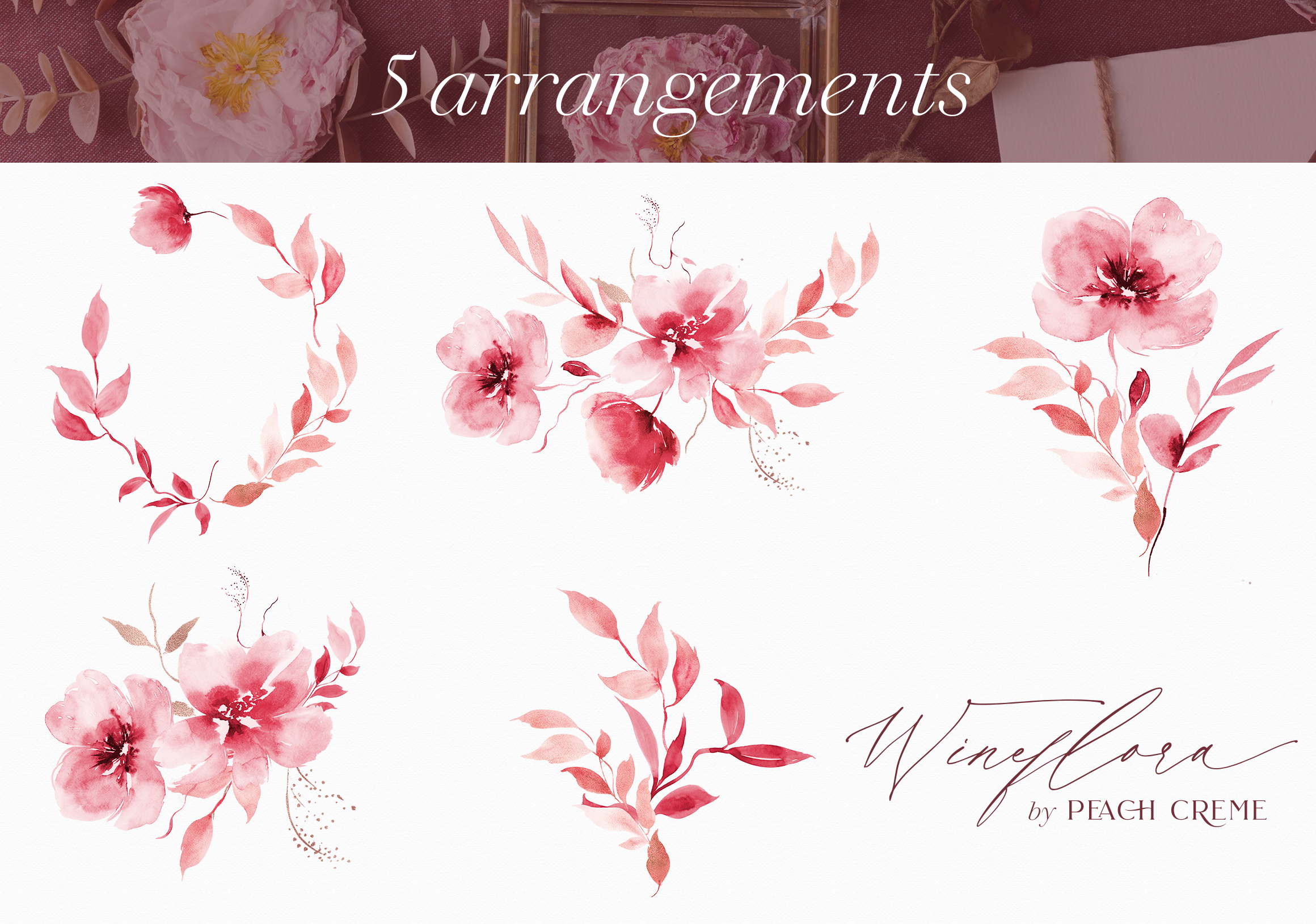 Wineflora // Watercolor Set example image 6