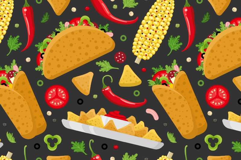 Mexican food set and patterns example image 3