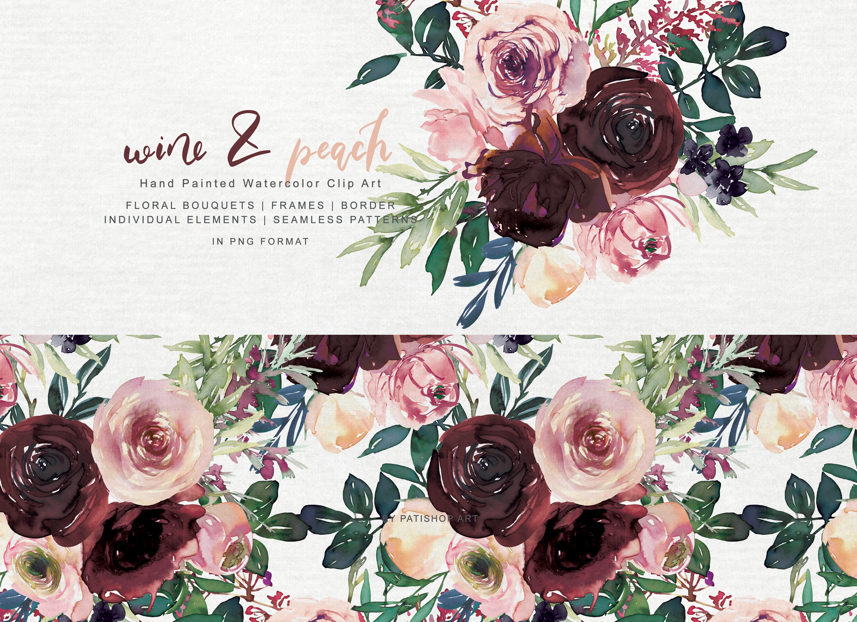 Wine and Peach Floral Bouquet Clipart example image 2