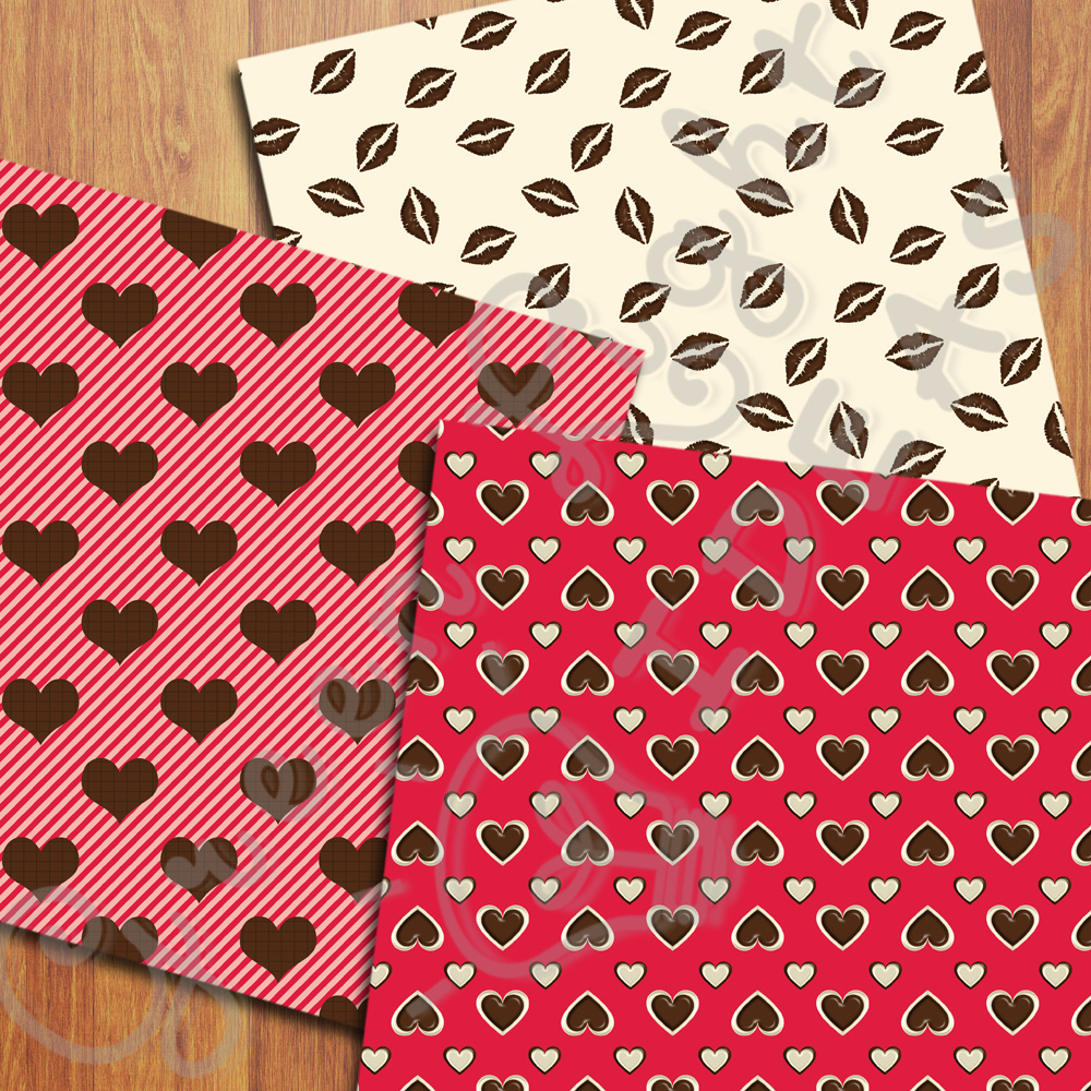 Sweet Valentine Digital Papers, Valentine's Day Backgrounds, Love Scrapbook Papers  example image 5
