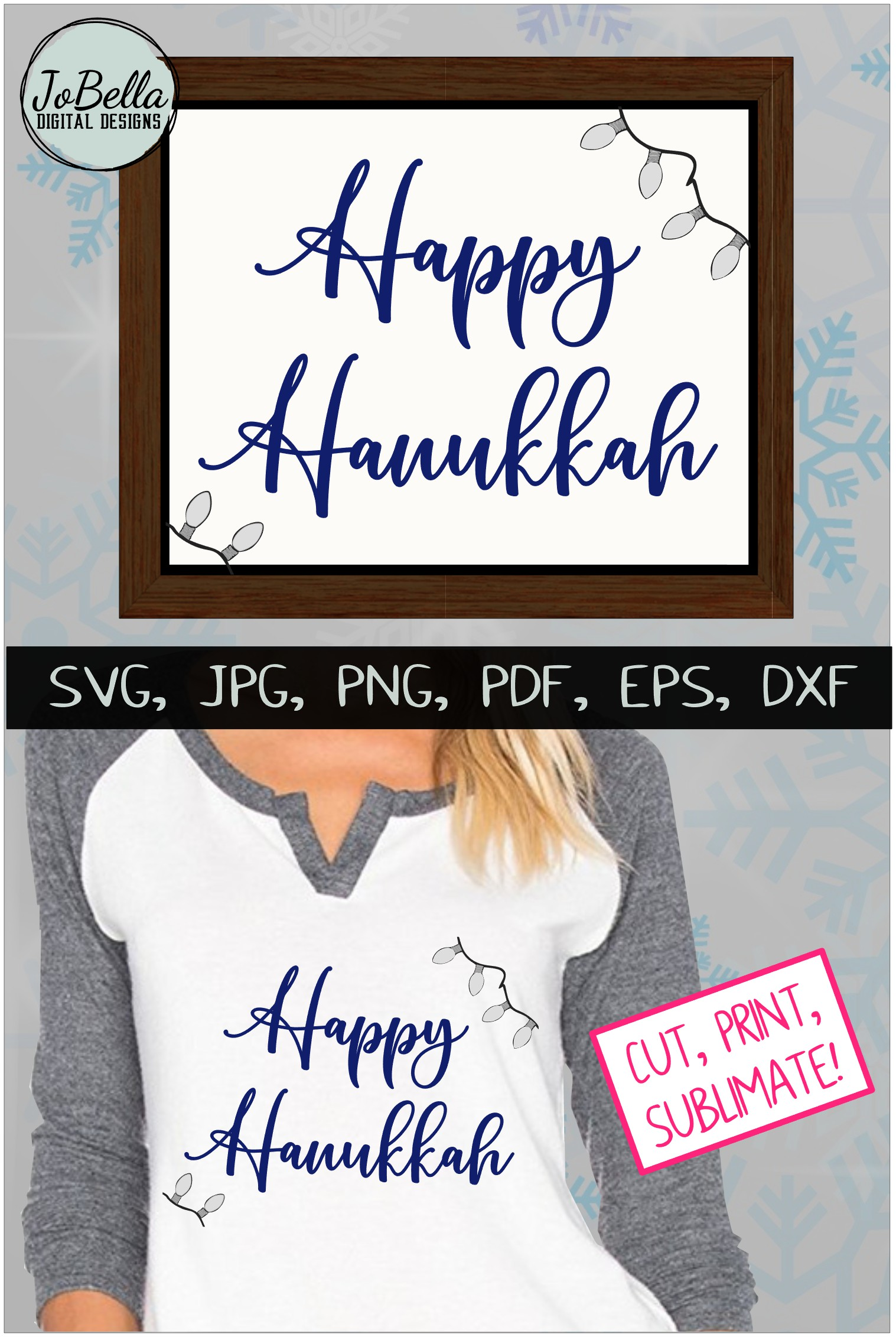 Lights And Happy Hanukkah SVG, Printable and Sublimation PNG example image 4