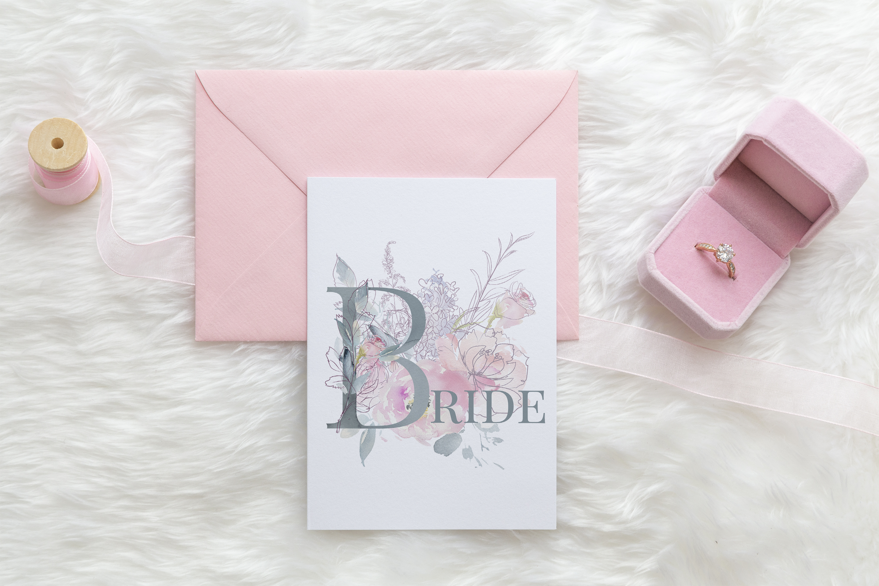 Card Mockup, with pink envelope PSD example image 1