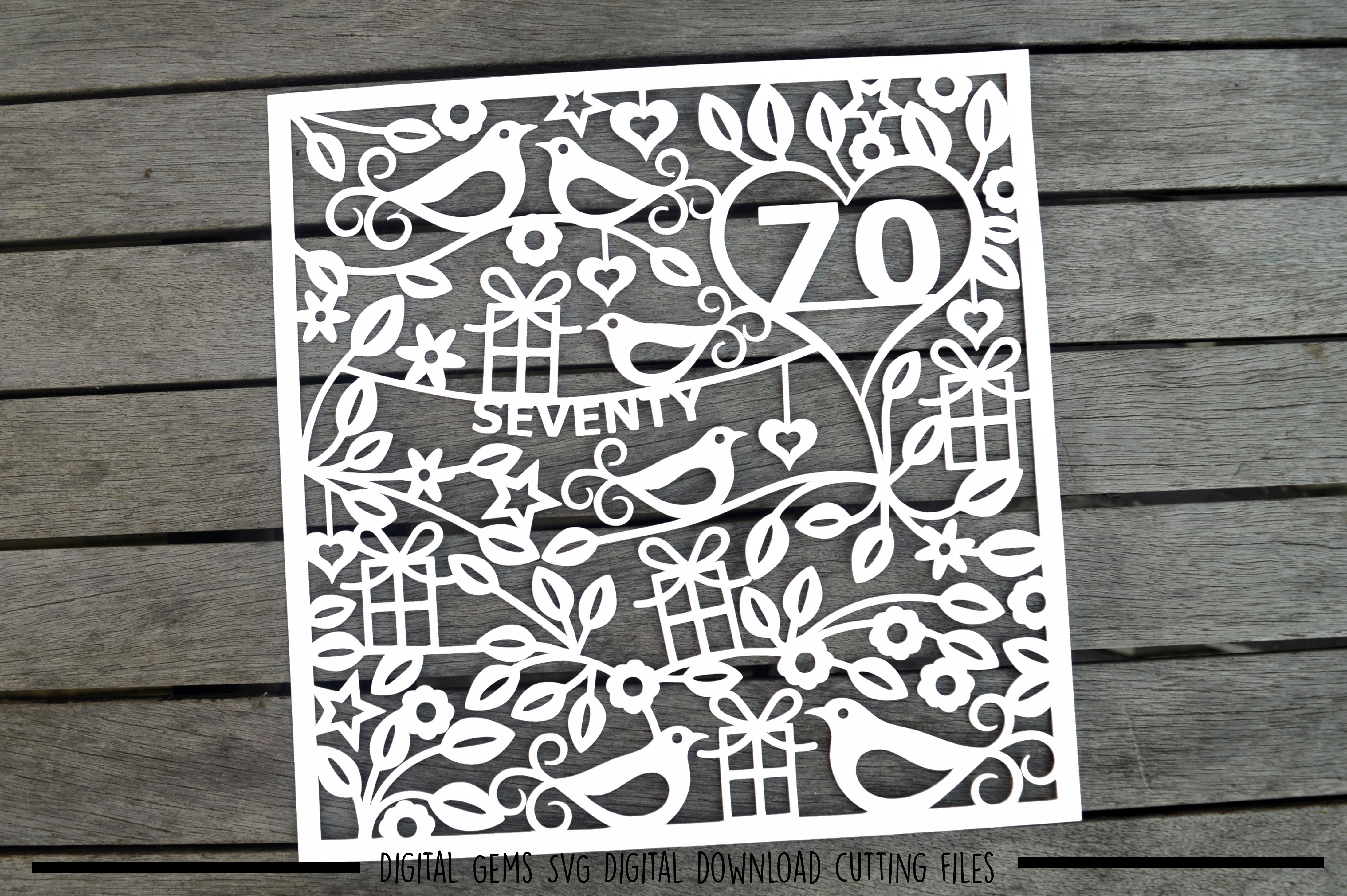 Number 70 paper cut SVG / DXF / EPS files example image 2