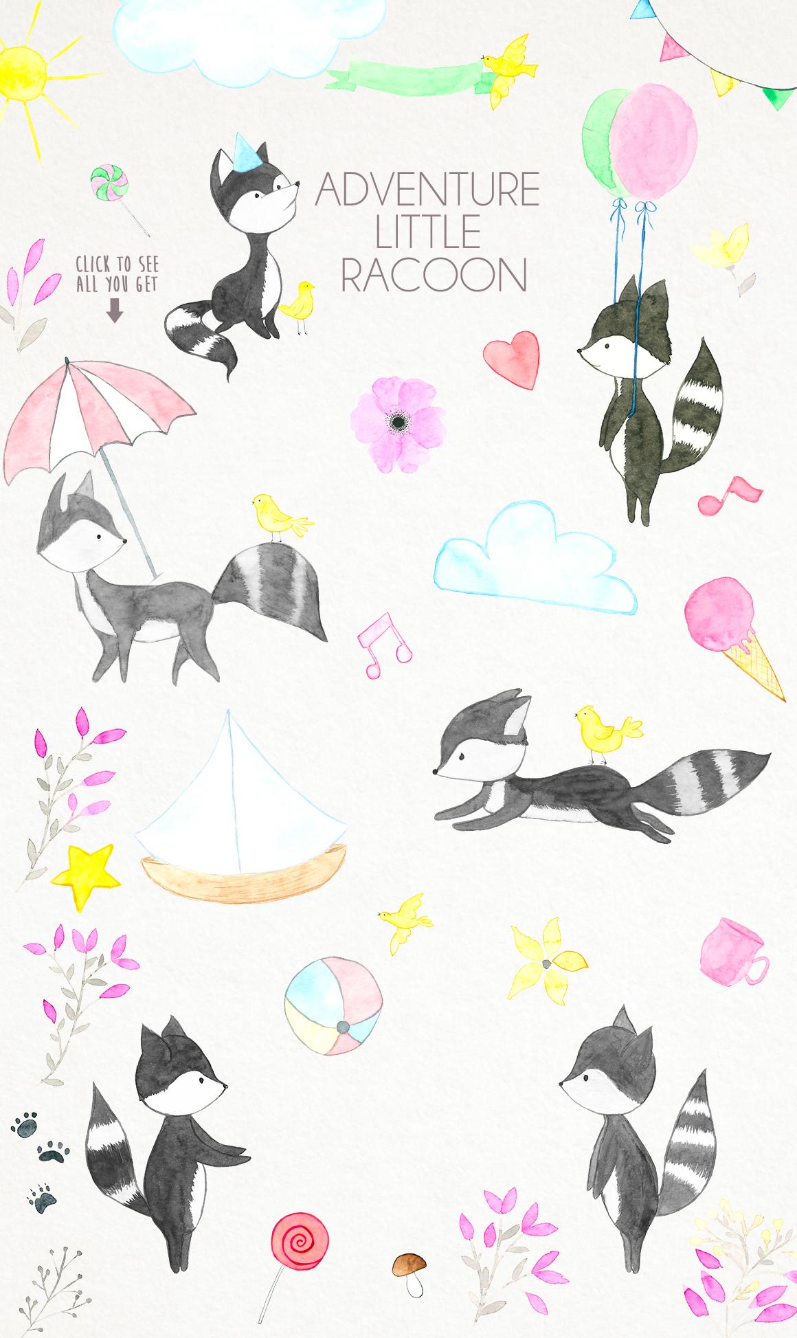Delicate watercolor Racoon example image 5