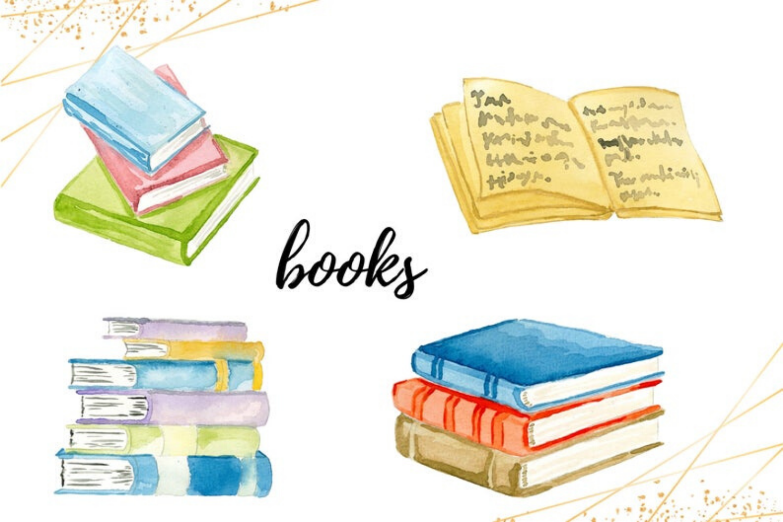 Watercolor Book Clipart, Bibliophile watercolor handpainted example image 2