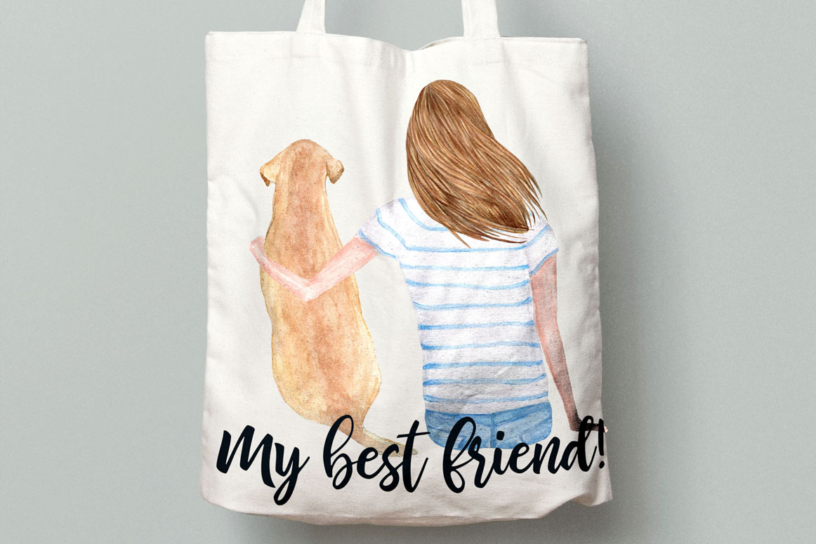 Watercolor Girls with Dogs clipart example image 3