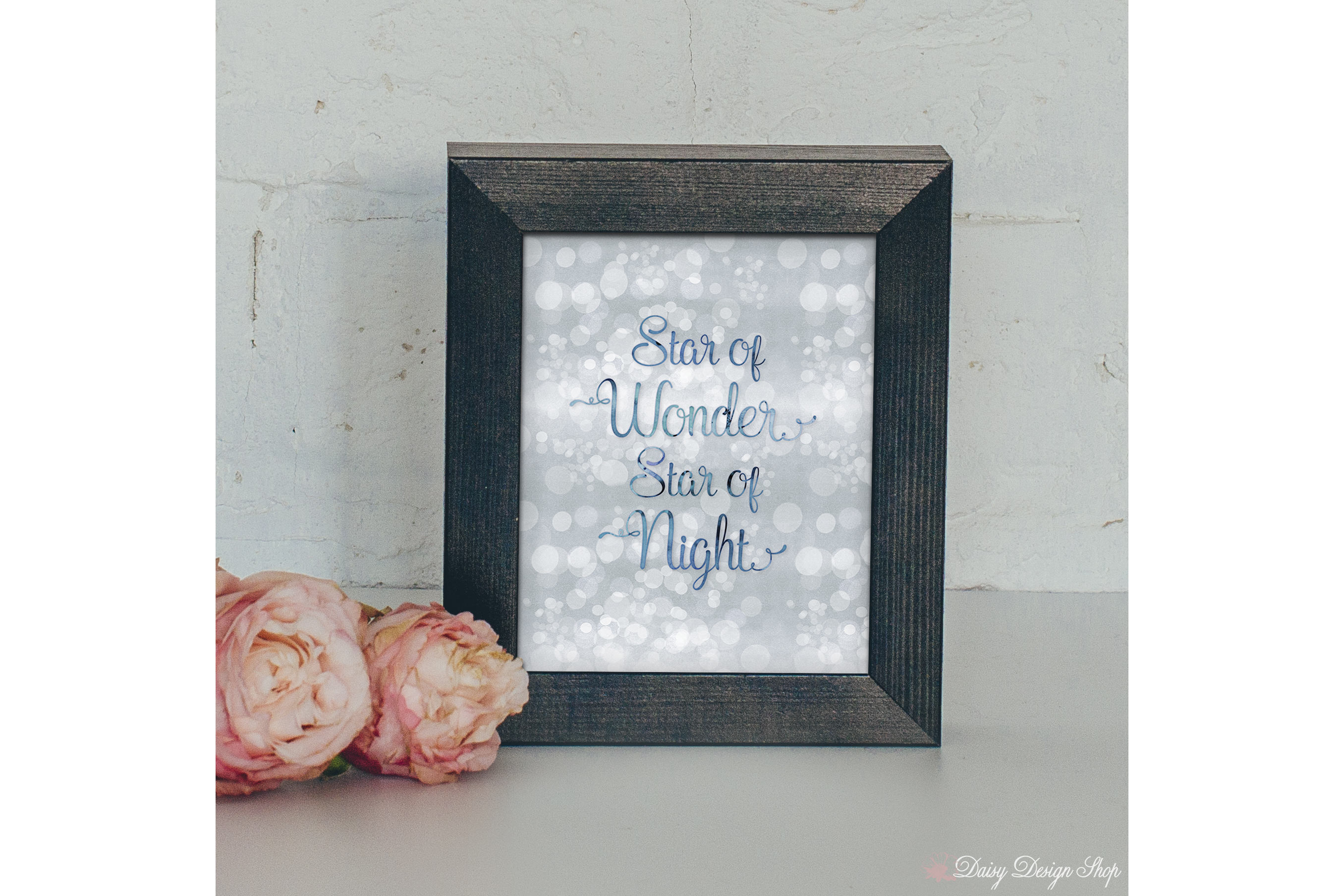 Star of Wonder Glitter Bokeh Art Print - Holiday Home 8x10 Printable example image 2