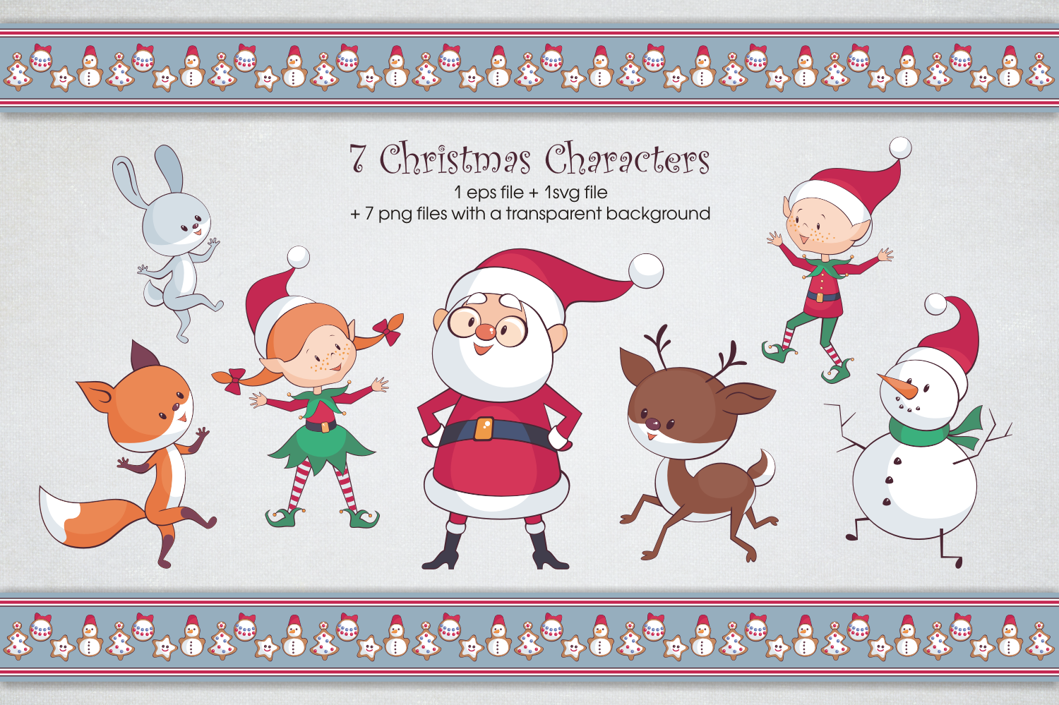 Christmas fun. Vector clip arts and seamless patterns example image 2