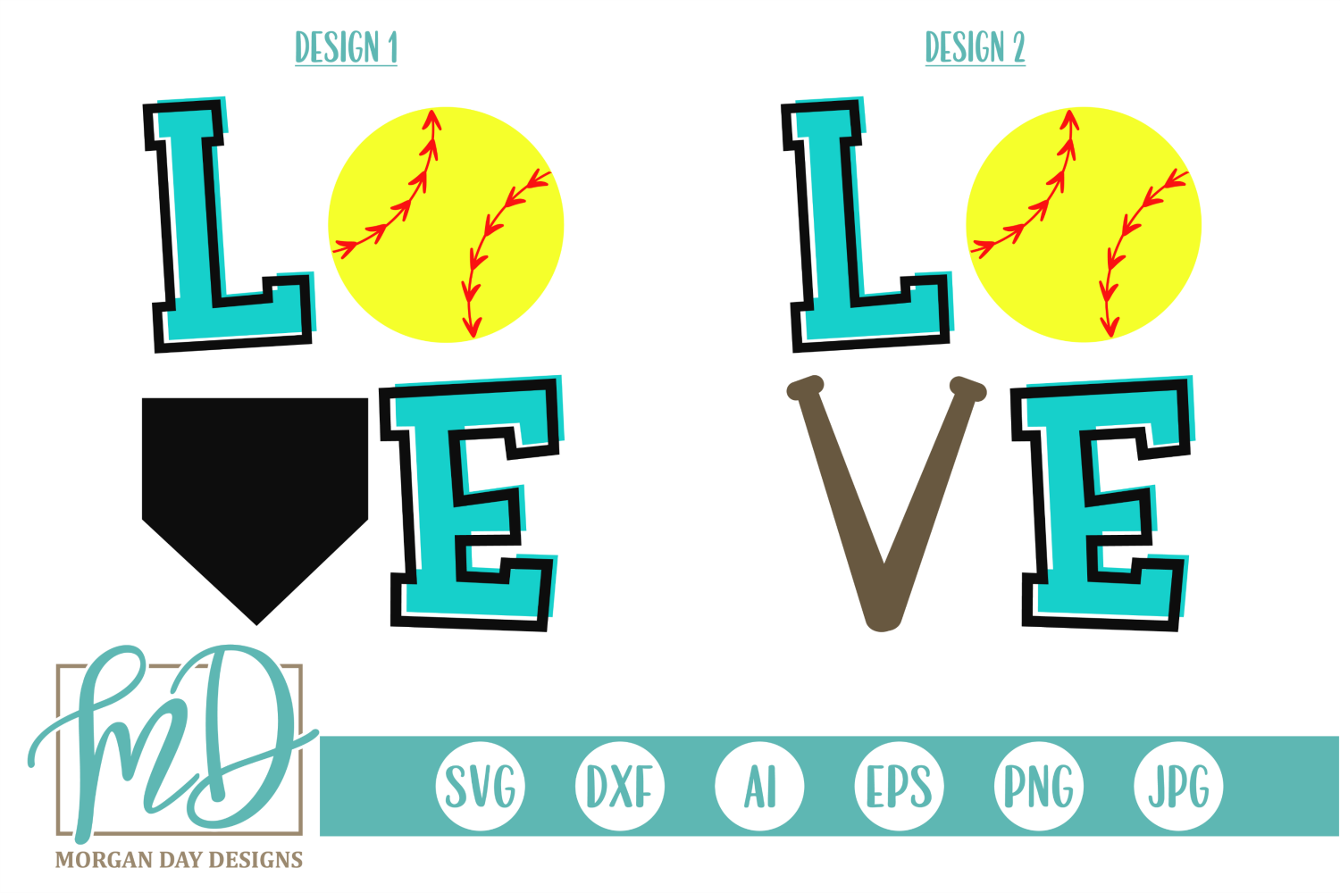 Softball Love - Love Softball SVG, DXF, AI, EPS, PNG, JPEG example image 1