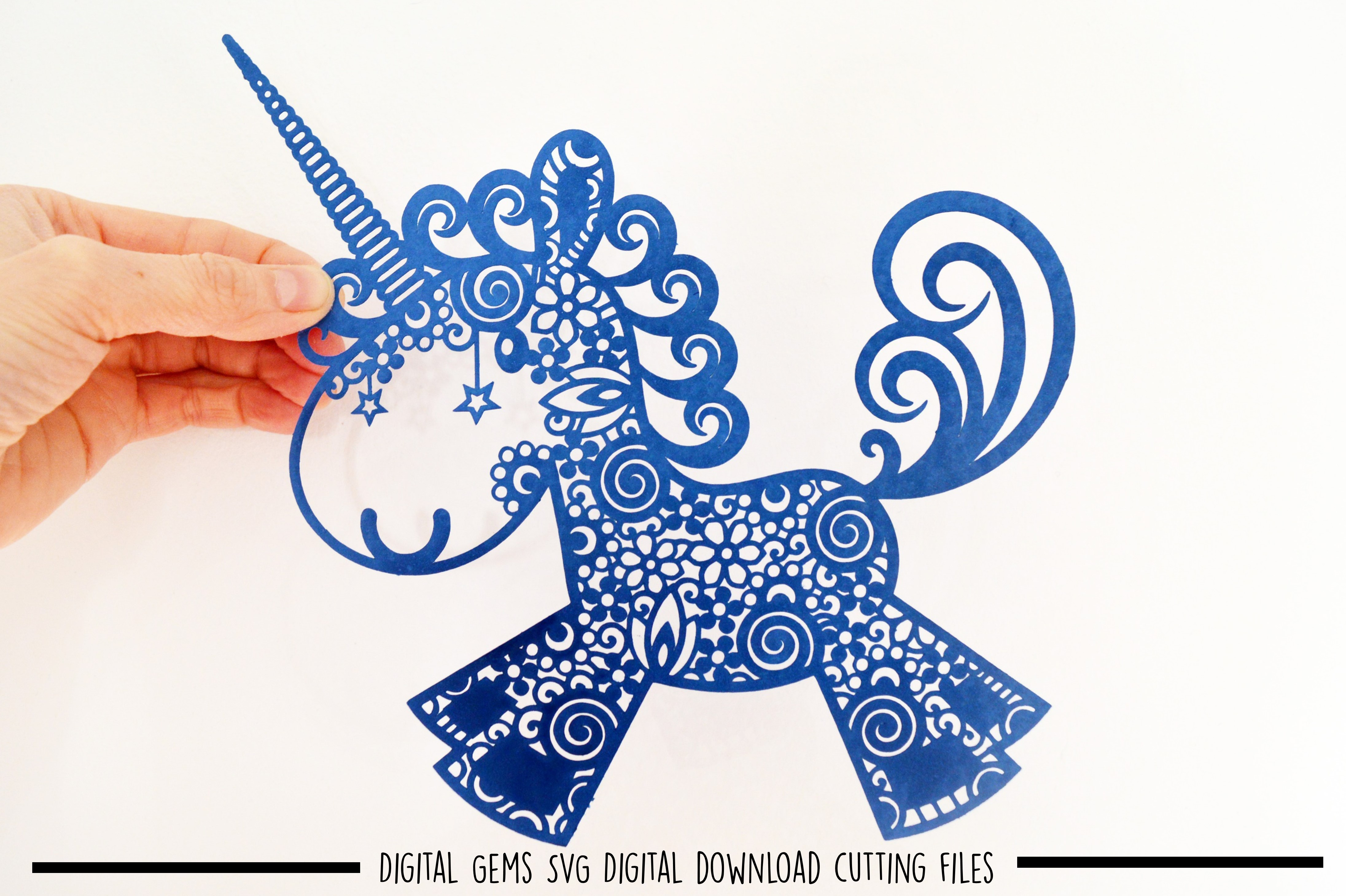 Unicorn paper cut SVG / DXF / EPS files example image 2