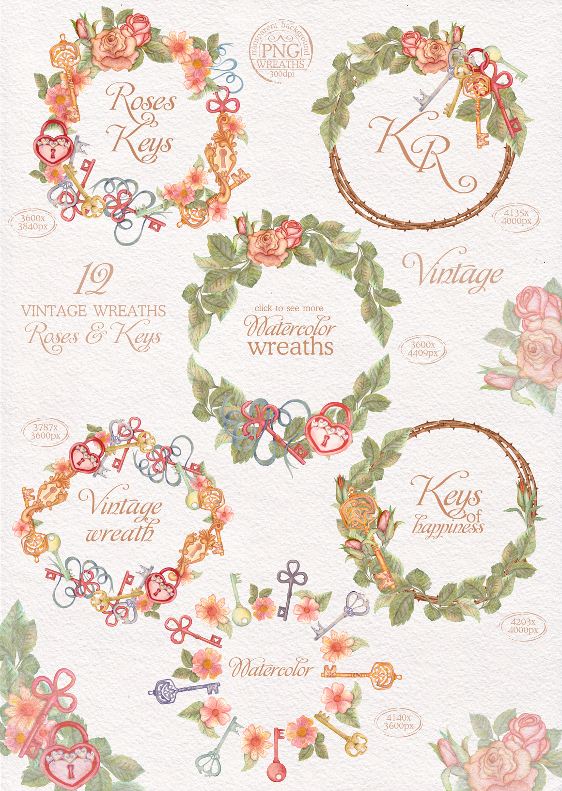 Watercolor wreaths set. Roses & keys example image 3