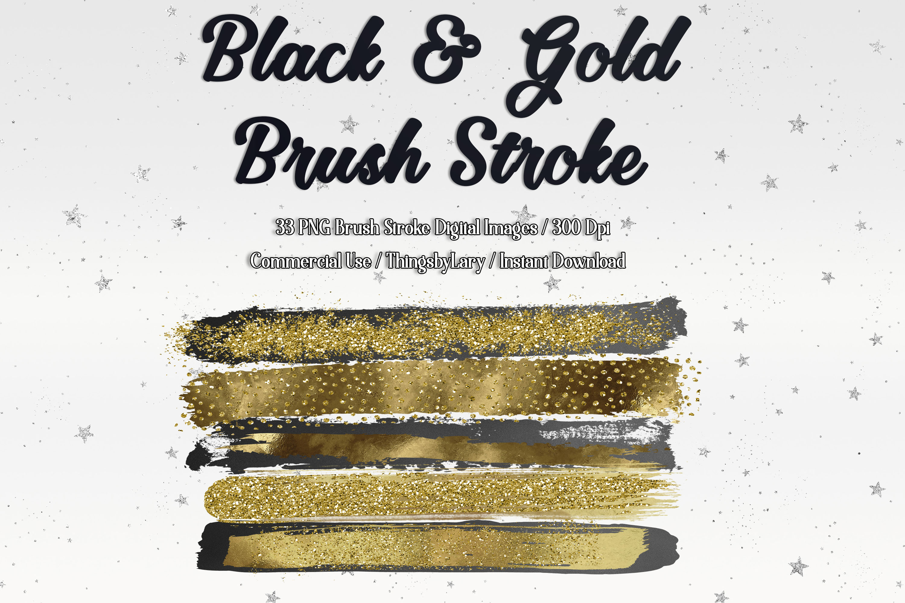 33 Gold Glitter and Black Hand Drawn Brush Strokes Images example image 1