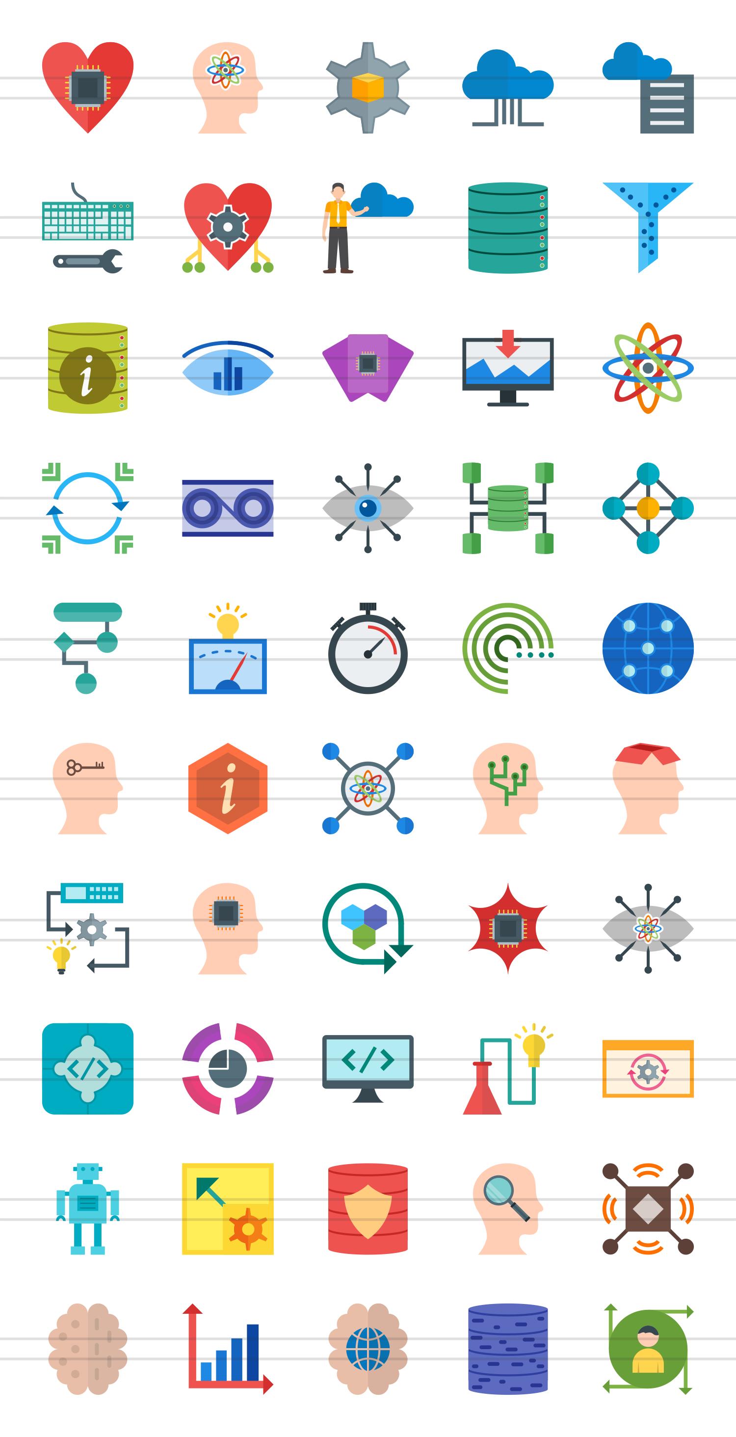 50 Data Analytics Flat Multicolor Icons example image 2