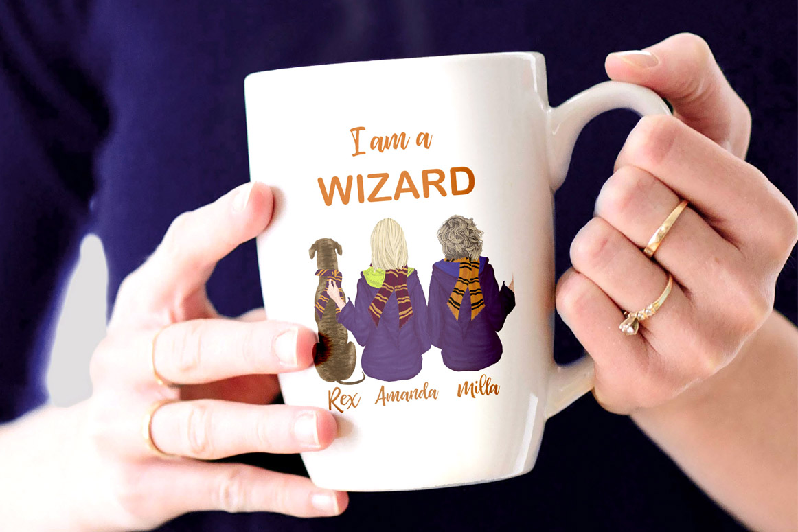 Wizard Girls, Castel Landscape, Dog clipart Wizard friends example image 4